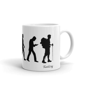 "Caneca Mug ""Human Evolution Backpacker version"""