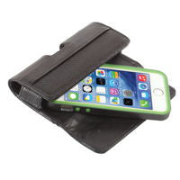 A premium, horizontal leather case with belt clip and magnetic enclosure.