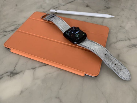 Apple Watch Armband Silber auf Tablet