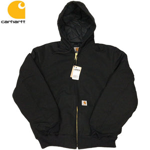 Carhartt Duck Active Jacket / Quilted Flannel Lined -BLACK-