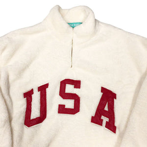 """USA FLAG""P/O Sherpa Jacket-WHITE-"