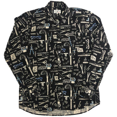Whole Pattern L/S Shirt -BLACK-