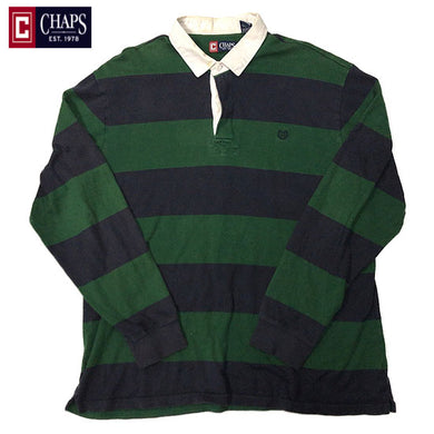 CHAPS RALPH LAUREN L/S Rugger Shirt-GREEN×NAVY-