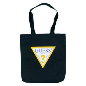 "GUESS ""TRIANGLE LOGO"" Canvas Tote Bag -BLACK-"