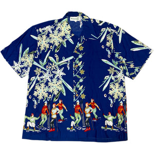 """NO BRAND"" Aloha Shirt -BLUE-"