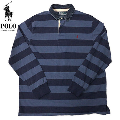 POLO RALPH LAUREN L/S Rugger Shirt-BLUE×NAVY-