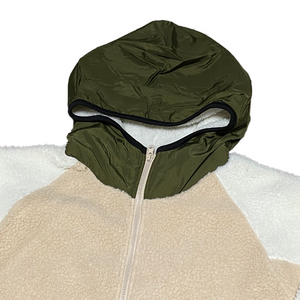 """NO BRAND"" Zip Up Hooded Boa Jacket -OLIVE-"