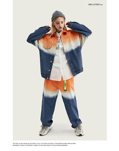 """INFLATION"" Tie-Dye Denim Suit  (Loose Fit Denim)"