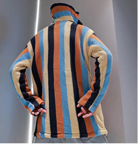 """TINY SPARK"" Knitted Striped P/O Hoodie"