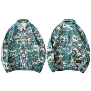 """TINY SPARK"" Camouflage Tie Dye Denim Jacket"