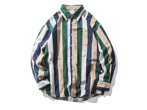 Aelfric Eden Wide Striped Color Block Patchwork Shirts
