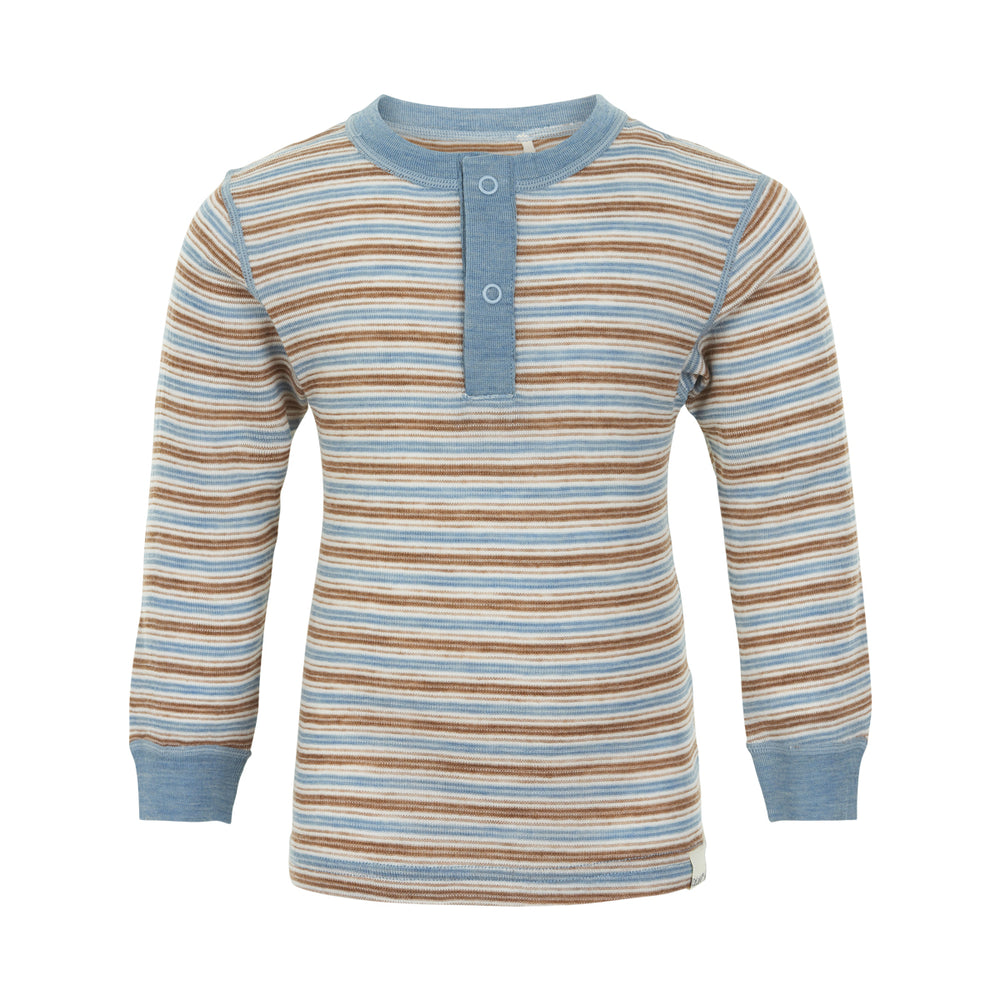 Merino Wool Thermal Top - Blue Shadow, ages 6-11