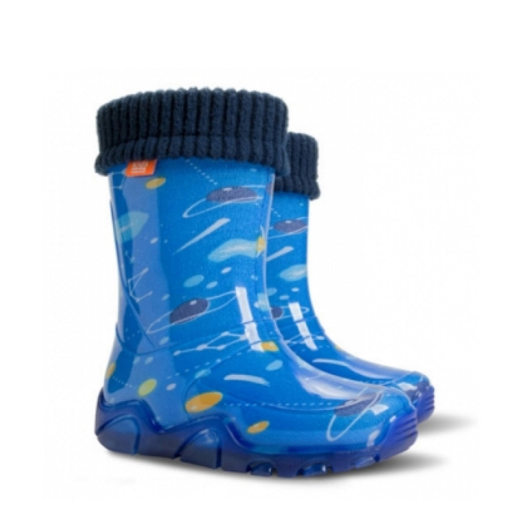 Kids Lined Wellies - Blue Planets