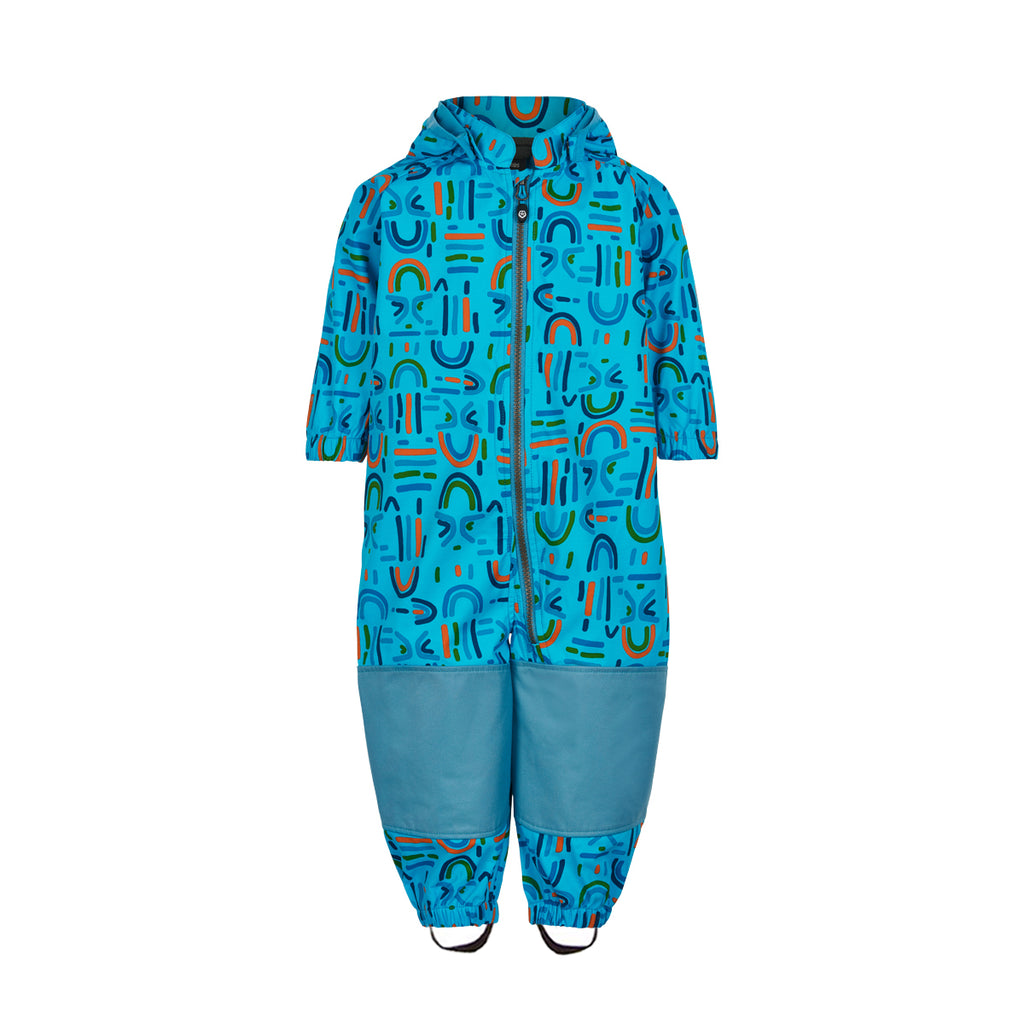 Toddlers Softshell Rain Overall, Blue Print
