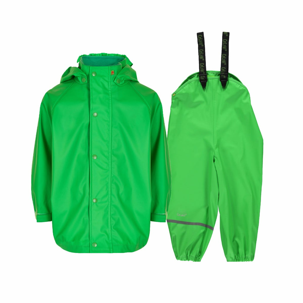 Kids Waterproof Set Green Rain Gear