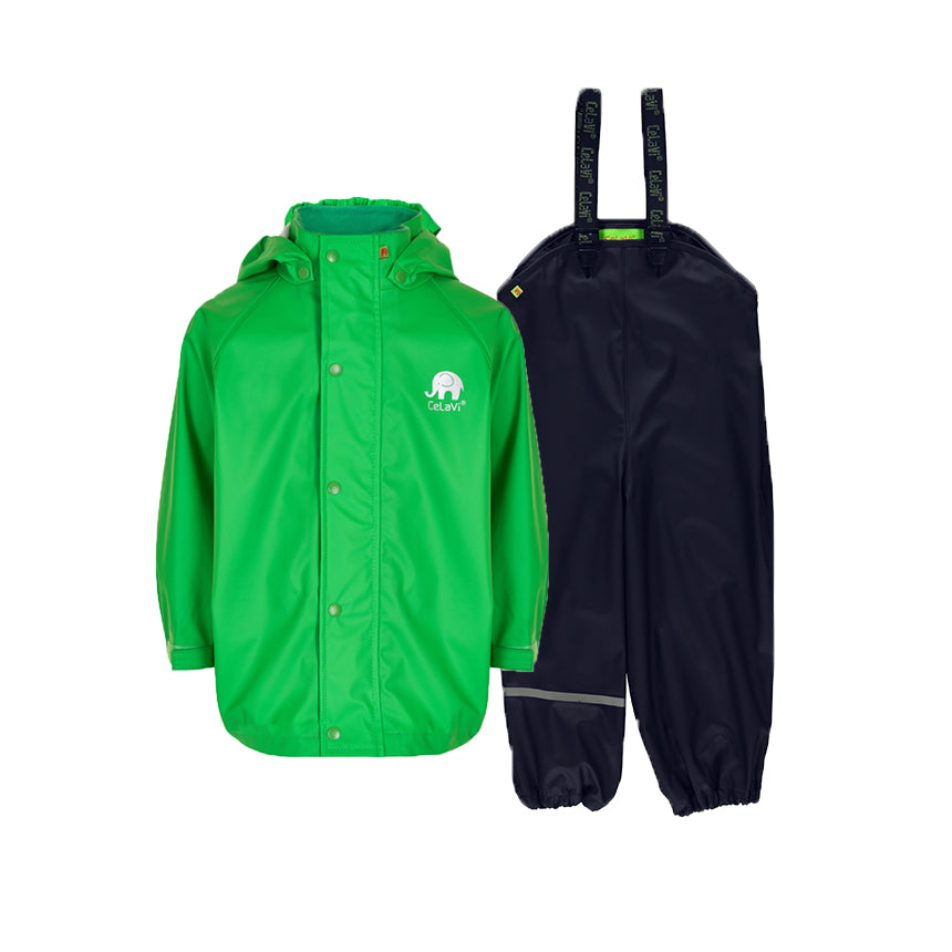 Kids Waterproof Set Green Navy Rain Gear