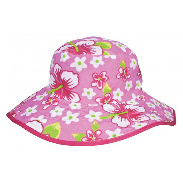 Reversible UV50+ Sun Hat, Pink Flowers, ages 0-5