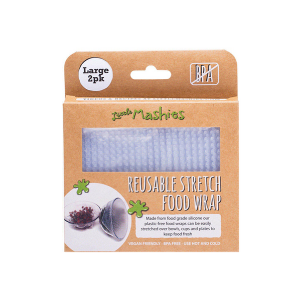 LITTLE MASHIES Reusable Stretch Silicone Food Wrap Pack Of 2 - Large 25cm X 25cm 2