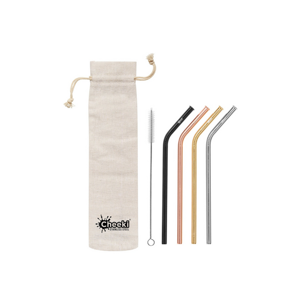 CHEEKI Stainless Steel Straws - Bent All Colours + Cleaning Brush 4pk