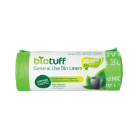 BIOTUFF General Use Bin Liners 25 Medium Bags [36L]