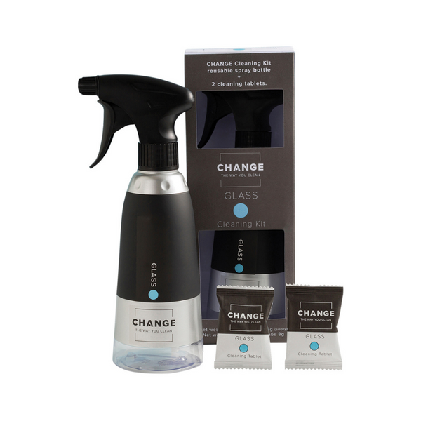 CHANGE Glass Cleaning Pack 4Pk (1 Spray & 2 Tablets)