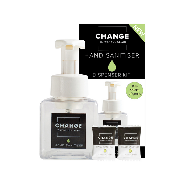 CHANGE Hand Sanitiser Dispenser Kit 5Pk (1 Pump & 2 Tablets)