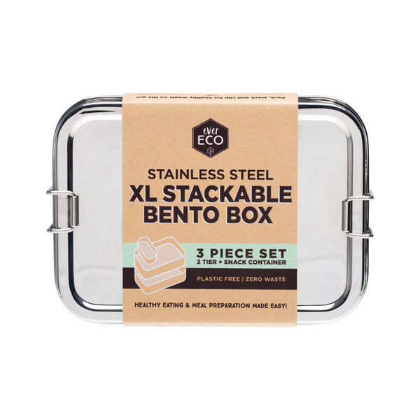 EVER ECO Stainless Steel XL Stackable Bento 2 Tier + Mini Snack Container 1900ml