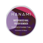HANAMI Nail Polish Remover Water Based Wipes Unscented 40 Pack
