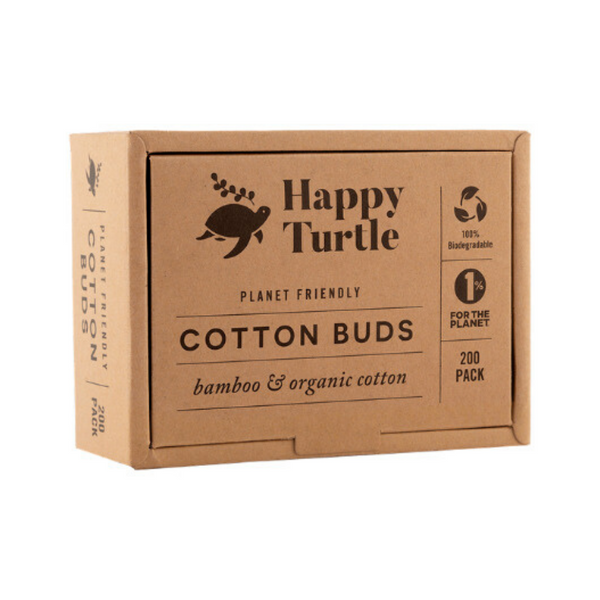HAPPY TURTLE Organic Cotton & Bamboo Cotton Buds - 200 pack
