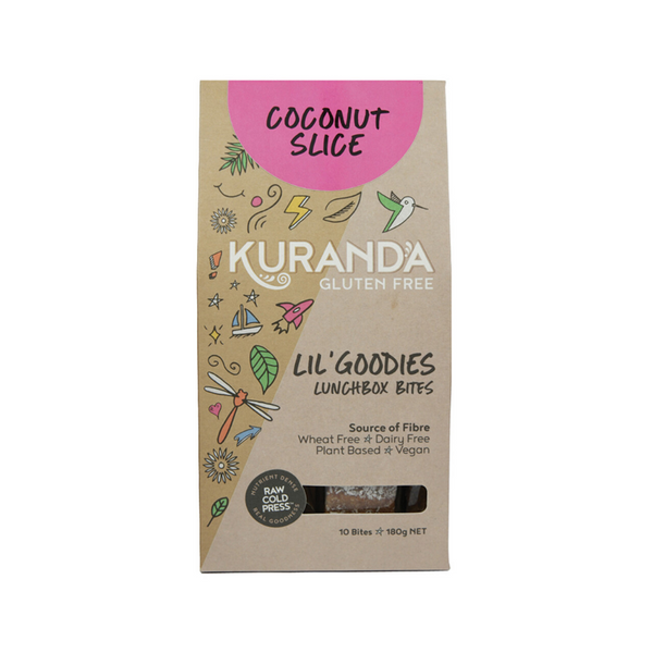 KURANDA Gluten Free Lil' Goodies Lunchbox Bites Coconut Slice 18g x 10 Pack