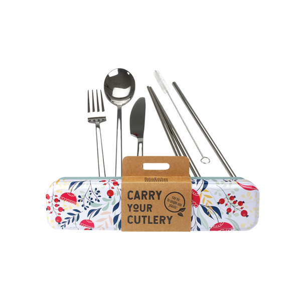 RETROKITCHEN Carry Your Cutlery - Botanical Stainless Steel Cutlery Set