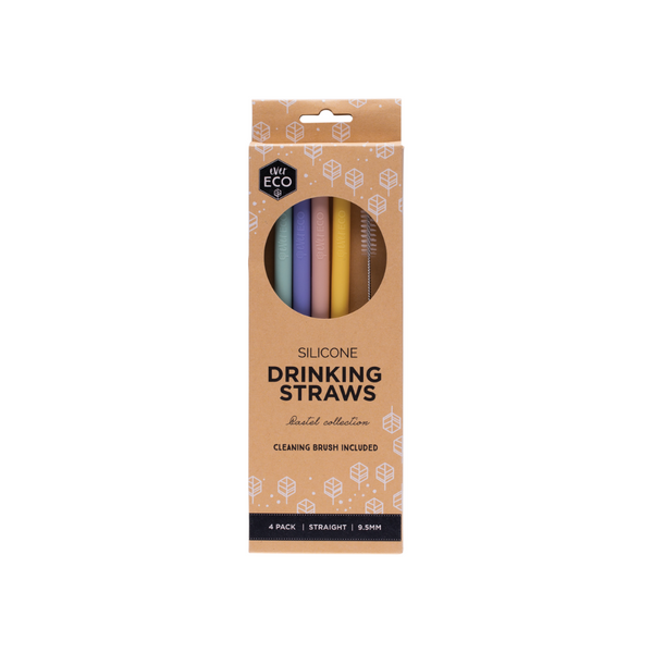 EVER ECO Silicone Drinking Straws - Straight 4pk
