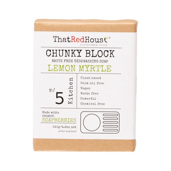 THAT RED HOUSE Chunky Dishwashing Block Soap Lemon Myrtle 140g