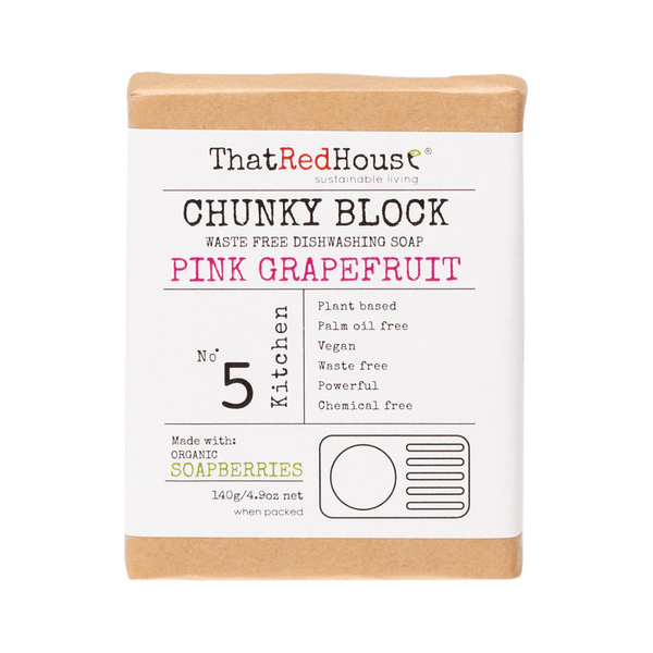 THAT RED HOUSE Chunky Dishwashing Block Soap Pink Grapefruit 140g