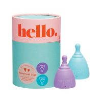 THE HELLO CUP Menstrual Cup Double Box Lilac+Blue - XS + S/M