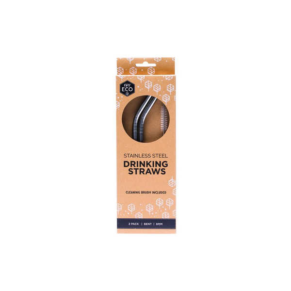 EVER ECO Stainless Steel Straws- Bent 2pk
