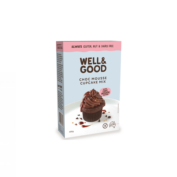 WELL AND GOOD Choc Mousse Cup Cake Mix & Mousse Topping G/F 450g