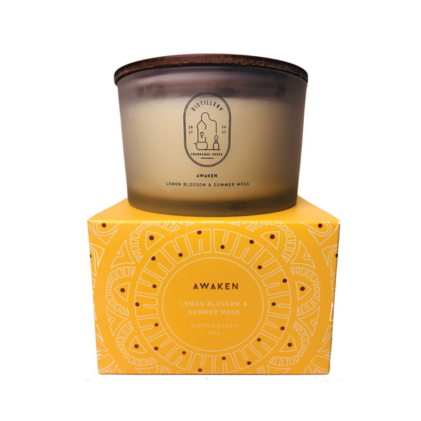 DISTILLERY FRAGRANCE HOUSE Soy Candle Awaken Lemon Blossom & Summer Moss 450g