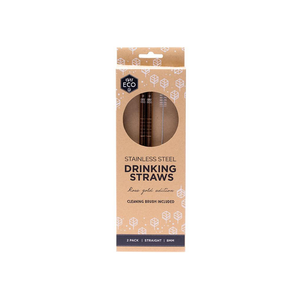 EVER ECO Stainless Steel Straws- Straight Rose Gold Edition 2pk