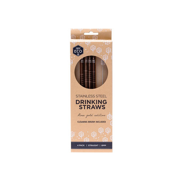 EVER ECO Stainless Steel Straws- Straight Rose Gold Edition 4pk