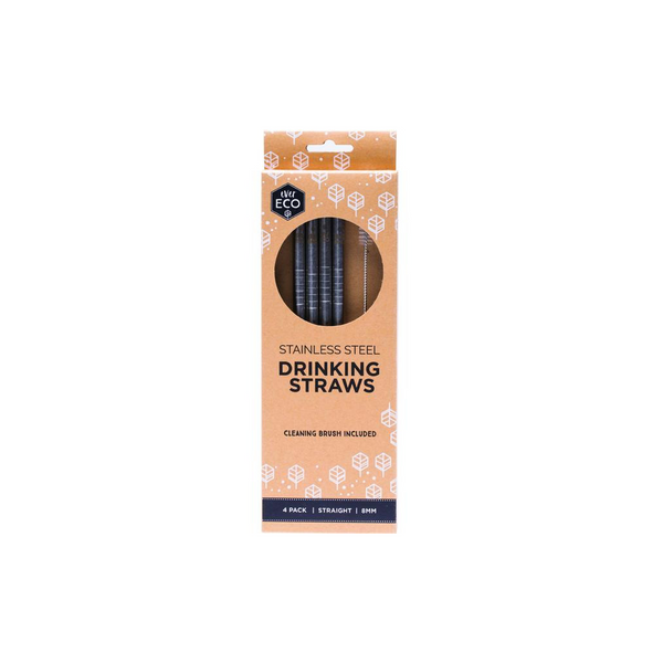 EVER ECO Stainless Steel Straws- Straight 4pk