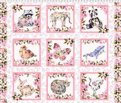 Pretty In Pink Panel Quilt Fabric From In The Beginning 36