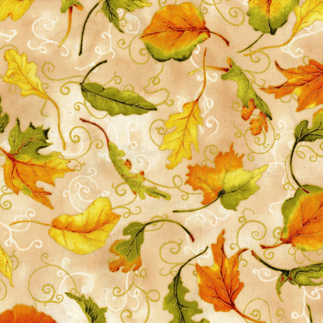3116-001 Autumn Air - Whirlwind - Oak Metallic Fabric
