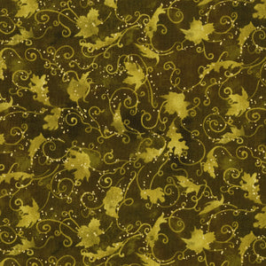 3119-004 Autumn Air - Blustery Day - Dark Olive Metallic Fabric
