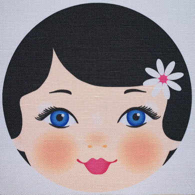 Ooshka Babushka Doll Face - Black Hair with Blue Eyes