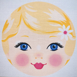 Ooshka Babushka Doll Face - Blonde Hair with Blue Eyes