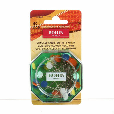 Bohin 26661 Quilter's Flower Head Pin, 32 Size, Assorted Colors, 50-pack