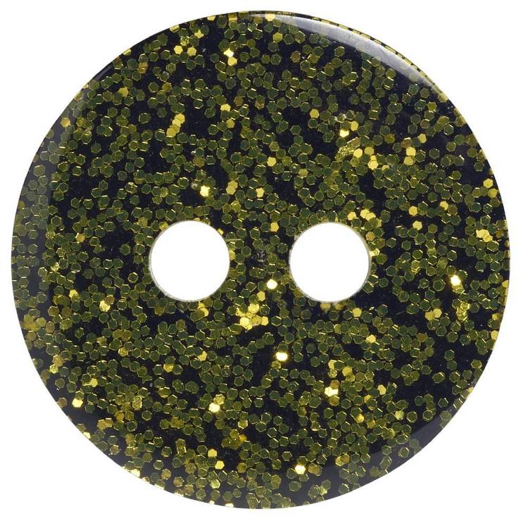 Hemline Precious Solid Glitter 22 Button Gold 14 mm