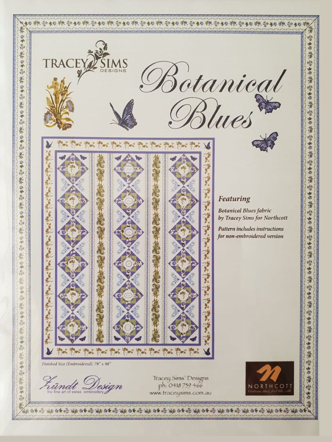 Botanical Blues Pattern Book + CD by Tracey Sims