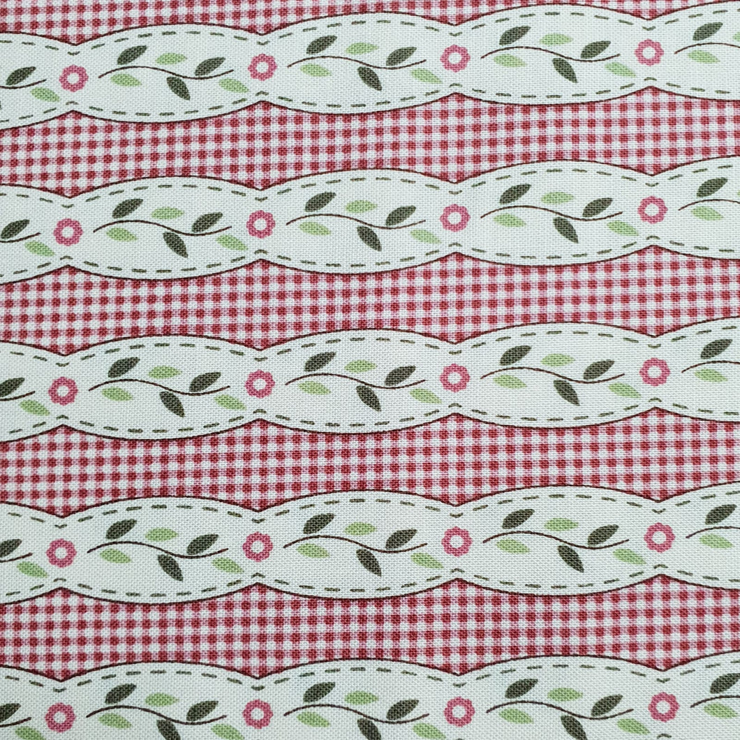 Gütermann Fabrics – Red Stripes & Flowers - Lizzy's Garden by Vero's World – 649465